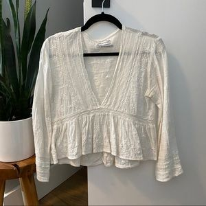 Urban Outfitters White L/S Blouse size Small